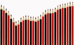 Red and black pencil graph Royalty Free Stock Photos