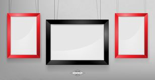 Red and black photo frame Mockup. Vector Illustration. Red and black photo frame Mockup Vector Illustration. Empty red photo frames mockup on a concrete wall Royalty Free Stock Photography