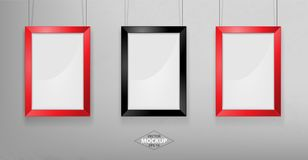 Red and black photo frame Mockup. Vector Illustration. Red and black photo frame Mockup Vector Illustration. Empty red photo frames mockup on a concrete wall Stock Images