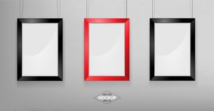 Red and black photo frame Mockup. Vector Illustration. Red and black photo frame Mockup Vector Illustration. Empty red photo frames mockup on a concrete wall Stock Photos