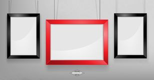 Red and black photo frame Mockup. Vector Illustration. Red and black photo frame Mockup Vector Illustration. Empty red photo frames mockup on a concrete wall Royalty Free Stock Photo