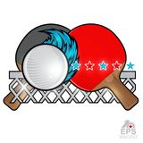 Red and black ping pong rackets and ball with wind trail and net on white. Sport logo for any team. Or championship vector illustration