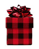 Red and black plaid patterned Christmas gift box isolated. Red and black plaid patterned Christmas gift box with shiny bow isolated on a white background Royalty Free Stock Photos