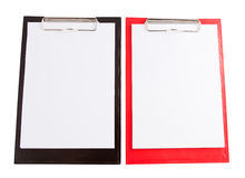 Red and black plastic clipboard with blank paper sheet Royalty Free Stock Photos