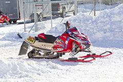 Red and Black Polaris Snowmobile After the Race Royalty Free Stock Images