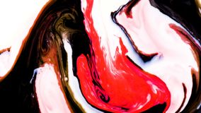 Red and black psychedelic paints are mixed into abstract patterns in white milk vector illustration