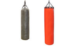Red and black punching bags Stock Photos