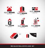 Red black real estate logo icon set Stock Photos