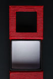Red black rectangular ring box on dark background Royalty Free Stock Image