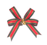 Red and black ribbon bow with bells isolated on white Stock Photography