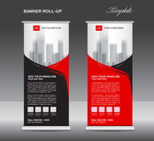 Red and black Roll up banner template vector, flyer Royalty Free Stock Photography