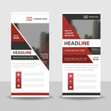 Red black roll up business brochure flyer banner design , cover presentation abstract geometric background Stock Photo