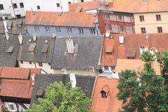 Red and black roofs in Cesky Krumlov Royalty Free Stock Images