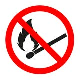 No fire, No open flame sign. Red and black round fire sign isolated on white. No open flame sign. No fire, No access with open flame prohibition sign. Red Stock Photos