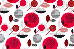 Red and black 60s floral retro pattern. Geometry decorative style vintage flower seamless motif. vector illustration Stock Illustration