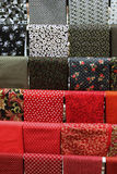 Red and black samples of cotton fabric for toysc Royalty Free Stock Photos