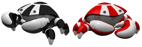 Red and Black Scutter Robots Side by Side Royalty Free Stock Photos