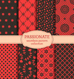 Red and black seamless patterns. Vector set. Royalty Free Stock Photos