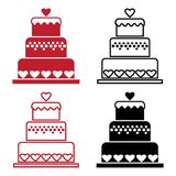 Red and black set of cake with heart for Valentine`s Day. Vector illustration royalty free illustration