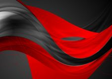 Red black shiny glossy waves abstract background. Red black shiny glossy waves and curved lines abstract background. Vector design royalty free illustration