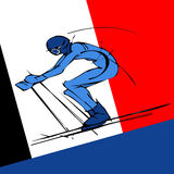 Red and black silhouette of skier. Hand draw silhouette of skier Royalty Free Stock Photography