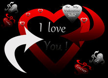 Red Black Silver Heart Chained Forever Yours Royalty Free Stock Photos