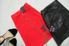 Red and black skirts, shoes and wild flowers. Fashionable concep. T Royalty Free Stock Photography