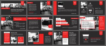 Red and black slide presentation templates background. Infograph Stock Photo