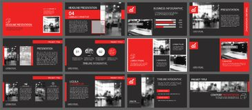 Red and black slide presentation templates background. Infograph Royalty Free Stock Images