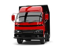 Red and black small box truck - front view. Isolated on white background Stock Photography