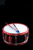 Red and Black Snare Drum. On Black a Backgorund Stock Photography