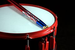 Red and Black Snare Drum. On Black a background in the horizontal or landscape view Stock Photo