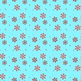 Red and black Snowflake seamless pattern. Snow on blue background. Abstract wallpaper, wrapping decoration. Symbol winter,Merry Ch. Ristmas holiday, Happy New stock illustration
