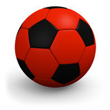 Red-black soccerball. Closeup. Royalty Free Stock Photo