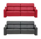 Red an black sofa. Genuine leather sofas, isolated on white Stock Image