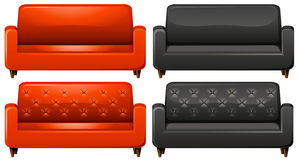 Red and black sofa Royalty Free Stock Photo