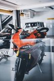 Red and Black Sports Bike Parking Inside Garage royalty free stock photography