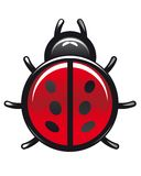 Red and black spotted cartoon ladybug Royalty Free Stock Images