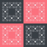 Red and black squares with ornament. Red and black squares with white floral ornament stock illustration