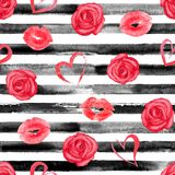 Red and black striped seamless pattern royalty free illustration