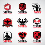 Red and black  Strong fitness logo vector set design Royalty Free Stock Photos