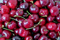 Red and black sweet cherries close up royalty free stock photos