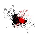Red black swirls splatters background Stock Images