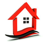 Red Black swoosh house Royalty Free Stock Image