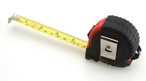 Red and Black Tape Measure. White Background stock images
