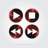 Red, black tartan icon, four music control buttons Stock Photos