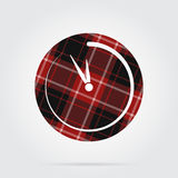 Red, black tartan isolated icon, last minute clock. Red, black isolated tartan icon with white stripes - last minute clock and shadow in front of a gray royalty free illustration