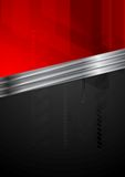 Red and black tech background with metal stripe Stock Photo