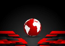Red black tech contrast background with earth globe Royalty Free Stock Image