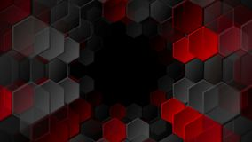 Red and black tech hexagons video animation